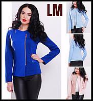 Модный пиджак 881717 размер 42,44,46,48,50 женский батал из эко-кожи синий розовый голубой куртка косуха