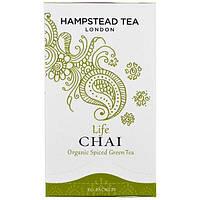 Hampstead Tea, Органический зеленый чай с пряностями, Life Chai, 20 пакетиков