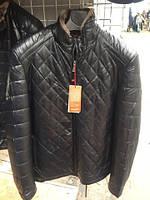Черная стеганая мужская куртка зима эко кожа