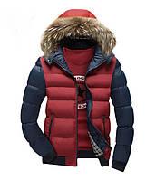 Куртка мужская с мехом красная с синими рукавами