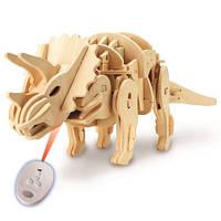 Деревянный 3D конструктор «Динозавр Трицератопс» на радиоуправлении
