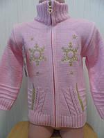 Кофта  вязанная для девочки на молнии 0-3 года. Опт