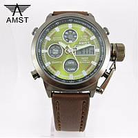 Часы военные водонепроницаемые AMST (Кварц) Black/Green.