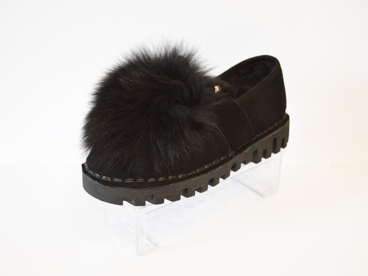 Туфли женские замшевые с мехом Allshoes
