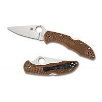 Нож Spyderco Delica4 Flat Ground Brown