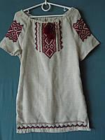 Плаття-вишиванка  для дівчинки  5-6 років на сірому льоні