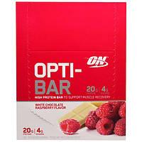 Optimum Nutrition, Opti-Bar Батончик с высоким содержанием белка, Белый шоколад и малина, 12 батончиков, 2,1 унции (60 г) в каждом
