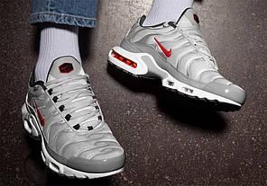 Мужские кроссовки Nike Air Max TN Grey/White/Red, Найк Аир Макс ТН, фото 3