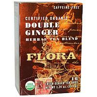 Flora, Органический травяной сертифицированный чай без кофеина, Двойной имбирь , 16 запечатанных для свежести пакетиков , 1.24 унции (35.2 г)