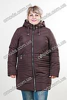 Куртка батал осенняя шоколад (коричневая) Марта