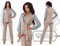 Стильный женский костюм тройка (креп шифон, поливискоза, прямые брюки, жилетка, блуза, пояс на завязке)