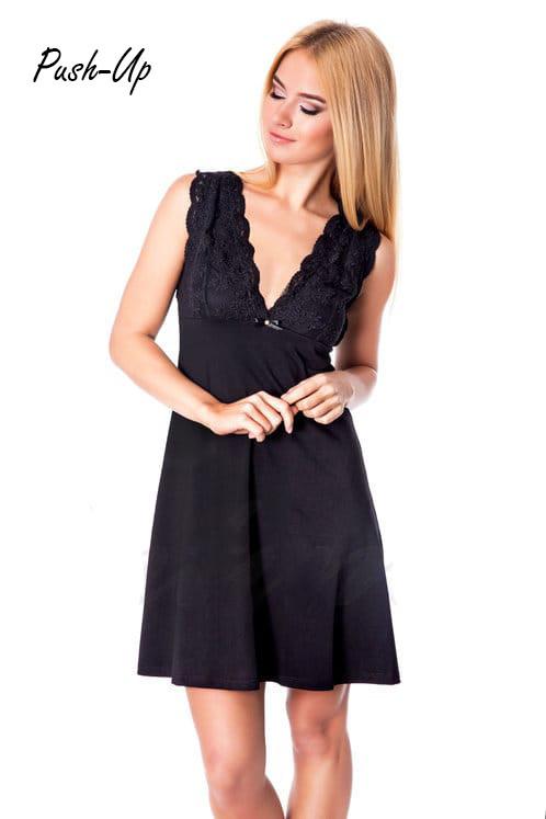 Женская черная сорочка с кружевом Ora 100205/4