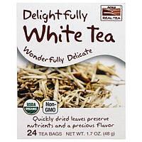 Now Foods, Настоящий Органический Чай, Восхитительно Белый чай , 24 пакетика, 1,7 унции (48 г)