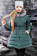 Ультрамодная зеленая куртка расклешенная к низу 42-48р