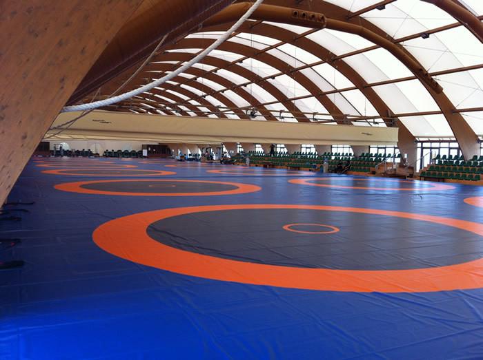Покрышка (покрывало) борцовское 3-х цветное 12.5 м x 12.5 м международный стандарт Fila оранжевый