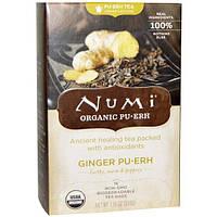 Numi Tea, Органический имбирный чай Пуэр, 16 пакетиков. 1,19 унции (33,6 г)