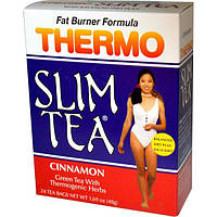 Hobe Labs, Чай для похудения Thermo Slim, формула сжигания жира, корица, 24 пакетика, 48 г