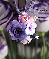 """""""Лавандовый микс"""" Кулон/ колье с цветами из полимерной глины. Подарки ручной работы. Бижутерия, фото 1"""