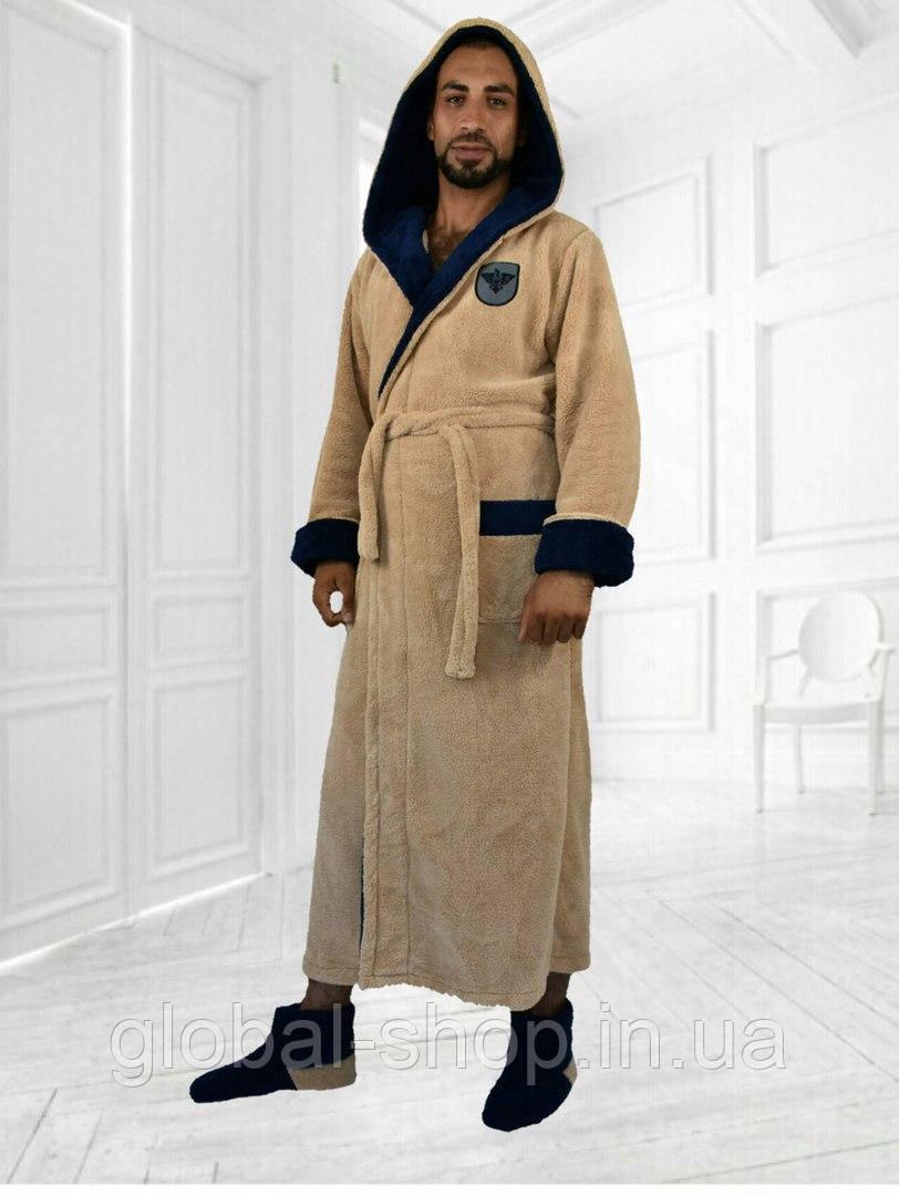 d9aff54cba9 ... Мужской тёплый махровый длинный халат с двойным капюшоном