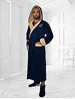 Мужской тёплый махровый длинный халат с двойным капюшоном, код:0601 ,Размеры 48-50 50-52