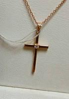 Крест золотой из красного золота вес 0.67 грамм с бриллиантом