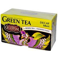 Celestial Seasonings, Зеленый чай с белым чаем, без кофеина, с мятой, 20 пакетиков, 34 г