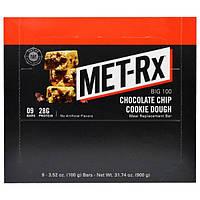 MET-Rx, Big 100, Батончик Вместо Еды, Печенье с Шоколадной Крошкой, 9 батончиков, по 3,52 унции (100 г) каждый
