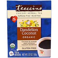 Teeccino, Органический травяной чай с цикорием, со вкусом одуванчика и кокоса, без кофеина, 10 чайных пакетиков, 2,12 унции (60 г)