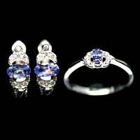 Танзанит, серебро 925, комплект кольцо и серьги, 037КМТ