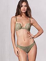 Трусики Victoria's Secret Floral Lace Thong Panty, Fir Green 8WU