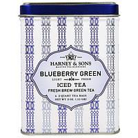 Harney & Sons, Ледяной Зеленый Чай из Голубики, 6 Пакетиков по 3 унции (0,11 г)