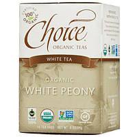 Choice Organic Teas, Органический белый пион, белый чай, 16 чайных пакетиков, 0,8 унции (24 г)