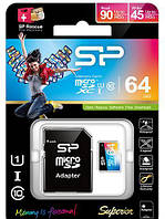 Silicon Power microSDXC 64Gb Class 10 UHS-I Elite Color + SD adapter (SP064GBSTXBU1V20-SP)