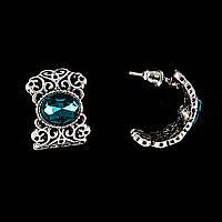 """Серьги-пусеты полукруглые, ажурные, с овальными кристаллами """"изумруд""""\ под серебро\20*15мм"""