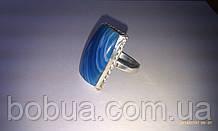 Кольцо с синим агатом