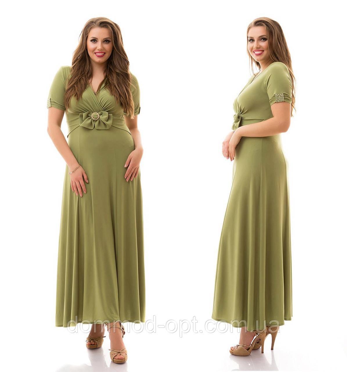 Женское красивое платье в пол больших размеров с бантом №893 (р. 48-62)