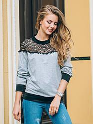 Женские модние свитшоти цвет серьй холопок с кружевом 46 48