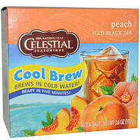Celestial Seasonings, Черный холодный чай, персик, 40 пакетиков, 3,6 унции (102 г)