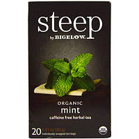 Bigelow, Стип, органический травяной чай без кофеина, мята, 20 пакетиков, 1,41 унции (40 г)
