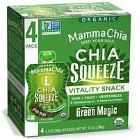 Mamma Chia, Органический сок чиа, энергетическая закуска, магия зелени, 4 пачки, 3.5 унций (99 г) шт.