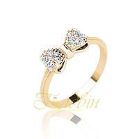 Золотое кольцо бантик с фианитами. ГП10433