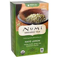 Numi Tea, Органический зеленый чай, с повышенным содержанием кофеина, мате и лимон, 18 пакетиков, 1,46 унции (41,4 г)
