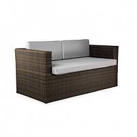 Двухместный диван wens плетеній из ротанга искусственного, коричневый