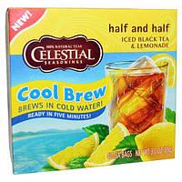 Celestial Seasonings, Half and Half, завариваемый в холодной воде холодный черный чай и лимонад, смешанные в равных пропорциях, 40 чайных пакетиков,