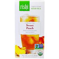 Rishi Tea, Холодный органический артизанский чай без кофеина, сладкий персик, 5 1-квартовых пакетиков, 60 г (2,11 унции)