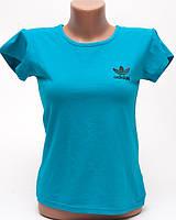Женская футболка с принтом Adidas цвет бирюзовый p.42-44 B10-6