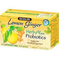 Bigelow, Пробиотики Herb Plus, лимон и имбирь, без кофеина, 18 чайных пакетиков, 1,39 унция (39 г)