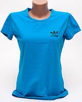 Женская футболка с принтом Adidas цвет голубой p.48 B10-7