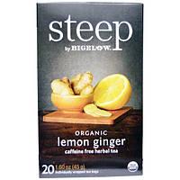 Bigelow, Steep, Organic Lemon Ginger, Caffeine Free Herbal Tea, 20 Bags, 1.60 oz (45 g)