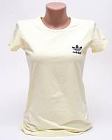 Женская футболка с принтом Adidas цвет светло-желтый p.46 B10-8